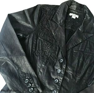 Coldwater Creek Sparkly Black Embroidered Jacket